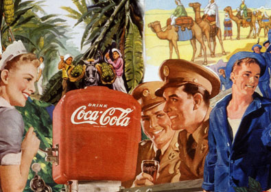 The Greatest generation celebrates WWII victory in sally Edelstein's collage using 1940's 50's vintage illustrations