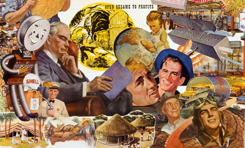 The Cold War Corporate Culture of multinationals is the theme in artist Sally Edelstein's collage utilizing vintage images from 40s 50s