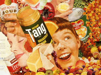 The wonderful world of 1950's convenience foods is celebrated in artist Sally Edelstein's collage utilizing vintage food advt illustations