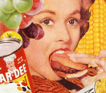 Appropriating vintage food advertising Sally Edelstein's collage looks at medias dueling obssession w ith food and dieting