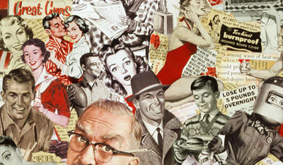 Sally Edelsteins collage composed of vintage adv. illustration is a landscape of Atomic Age American affluence and cultural consumption of the 50's