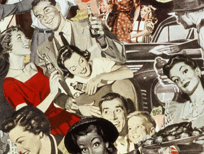 Sally Edelstein's collage of consumer driven pop culture of post war America in images appropriated from Atomic Age pop culture