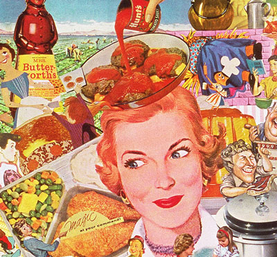 Appropriating vintage food illustrations and advertising artist Sally Edelstein pictures the Post War World of convenience foods