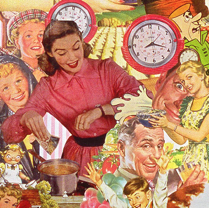 Post War progress in the kitchen as visualized by artist Sally edelstein's collage appropriating vintage illustrations from 40s 50s