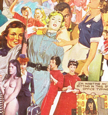 The world of sexist jobs in the  60s as shown in Sally Edelstein's collage composed of appropriated vintage illustrations