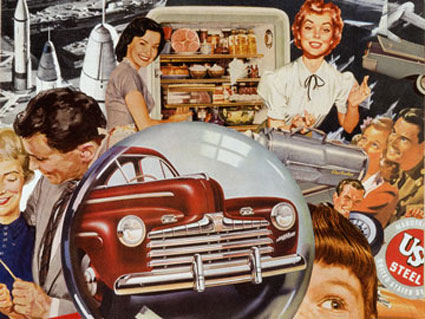 collage artist Sally Edelstein appropriates advt. illustration from the 50's in depicting Atomic Age pop culture