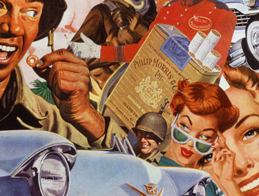 Collage Artist Sally Edelstein appropriates 1940's 50's pop culture imagery in picturing Post War consumer America