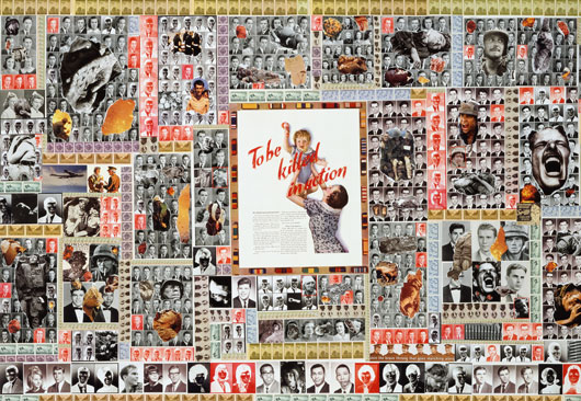 Sally Edelsteins collage is composed of hundreds of vintage HS year books from 40' 50's 60's 70's juxtaposed against images of the horrors of war