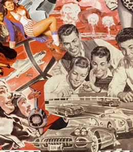 Sally Edelstein's collage of appropriated vintage illustrations looks at a Cold war culture of Mutually Assured Destruction as America and Russia begin the nuclear arms race