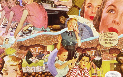 Sally Edelstein appropriates vintage illustration in her collage chronicaling the mundane quality of 60s housewife