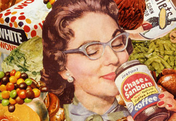 A satirical poke at CIvil defense suggestion of stocking up your home fall out shelter with convenience foods is the subject of Sally Edelstein's collage using 50's vintage advt illustrations