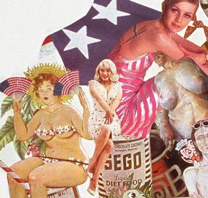 Americas early obssession with thinness is addressed in Sally Edelstein's collage utilizing vintage images from 50's 60s