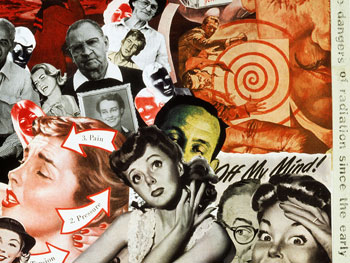 Artist Sally Edelstein's collage utilizing 50's vintage illustrations narrates the story of an unsuspecting public exposed to effects of radiation from Atmospheric Testing of Nuclear Bombs in 1950's