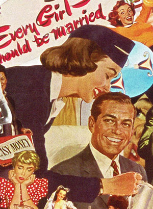 Using vintage 50s 60s illustration, collage Artist Sally Edelstein looks at the sexist world of 60's Stewardesses at a time when every girl should be married in a