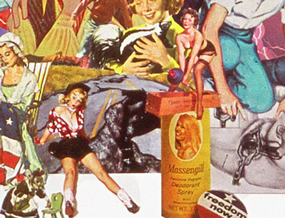 70's liberated ladies personal daintiness comes under attack in Sally Edelsteins collage composed of vintage images from pop culture