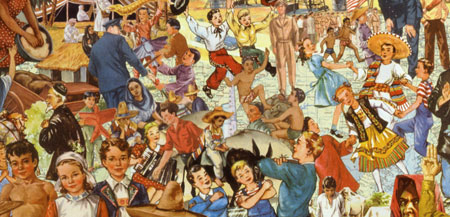 Appropriating 50's vintage childrens school book illustrations, Sally Edelstein's collage ironically shows the welcoming reception around the globe to American occupation