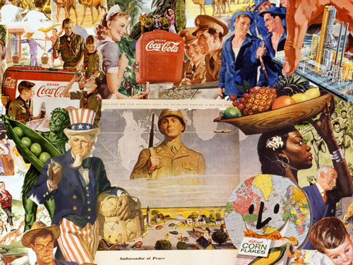 Appropriating vintage 40's 50's advt. illustrations artist Sally Edelstein's collage looks at the begining of Cold War Coca-Colinization of the world by the globalization of multinational corporations