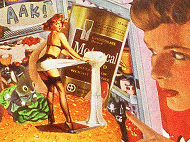 Artist Sally Edelstein pokes fun at Cold War Civil Defense in her collage whose subject portrays the message that Nuclear Attack should not be a detterance for dieting