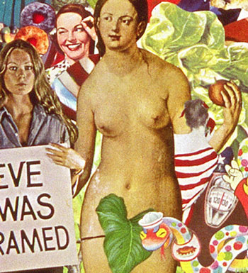 Sally Edelstein's collage utilizes vintage illustration from 50's 60' 70s  is a collection of conflicting cutural messages about women and their bodies