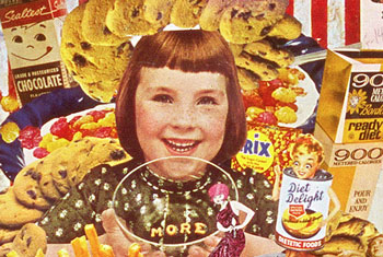 Appropriating vintage ads and illustartions Sally Edelstein's collage is a tribute to the ebullience of appetite and abundance in Cold War popular culture