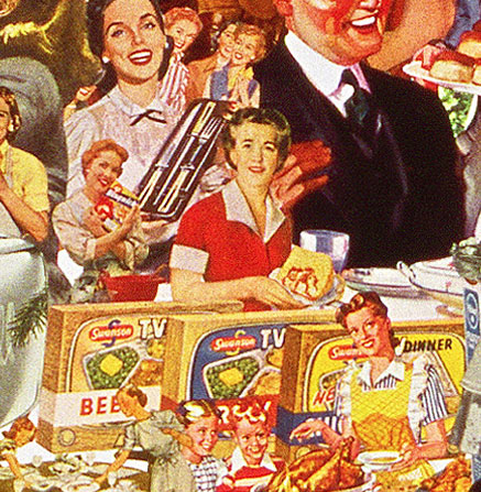 Appropriating vintage advertising and illustrations from 50s artist sally edelsteins collage defrosts the Cold war culture of TV dinners and happy Housewives