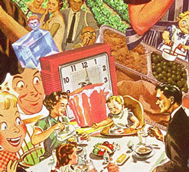 Sally Edelstein's collage utilizing appropriated images from vintage illustrations looks at a home cooked convenience meal in a fallout shelter