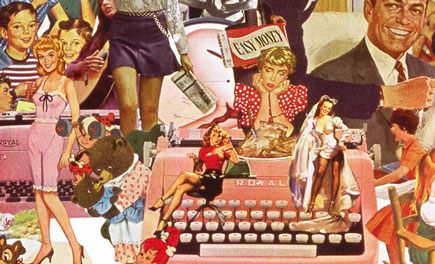 A collage by Sally Edelstein utilizing vintage illustrations is a collection of conflicting cultural messages about women and work in the 60s