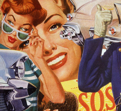 appropriating vintage illustrations from 50's collage artist Sally Edelstein addresses the outdating of the American housewife