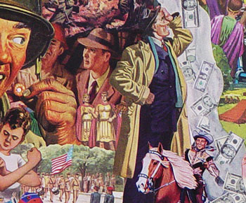Sally Edelstein's collage appropriating vintage illustrations addresses Cold war Soviet propaganda against a greedy Capitalist USA
