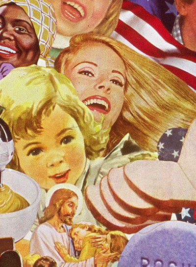 Appropriating vintage 50's advt illustration Sally Edelstein's collage looks at irony of Cold war propaganda of American way of life characterized by freedom and tolerance despite racial strife at home