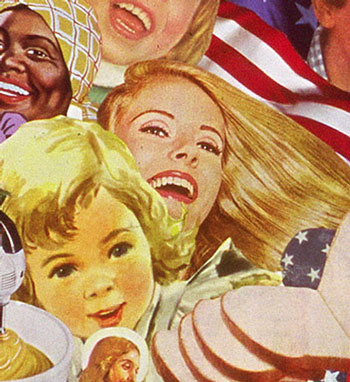 Sally Edelstein's collage utilizing vintage images for 50's 60s is a collection of post war media imagery obssessed with the cult of blondness