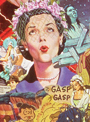 Appropriating vintage illustrations from the 50's artist Sally Edelstein's collage looks at the begining of Cold war culture